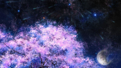 Art painting cherry trees space meteor shower Wallpapers