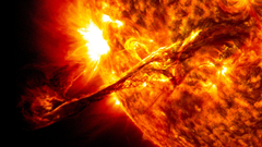 Solar flare sun fire glow psychedelic space abstract stars r