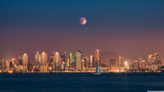 Supermoon Eclipse over San Diego 4K HD Desktop Wallpapers for 4K