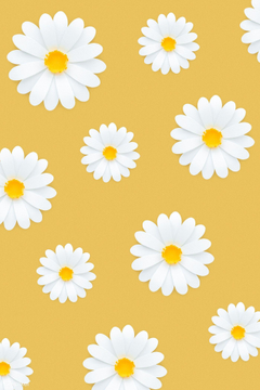 premium psd of White daisy pattern on yellow