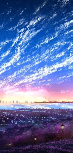 Sky City Scenery Horizon Landscape Anime 8K Wallpapers