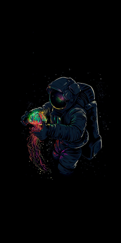 Dark fantasy astronaut and jellyfish 1440x2880 wallpapers