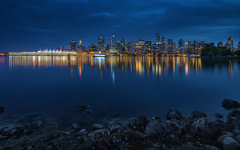 Image Vancouver Canada Stanley Park Bay Night Coast Cities