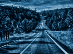 Road Illuminated by Full Moon widescreen wallpapers