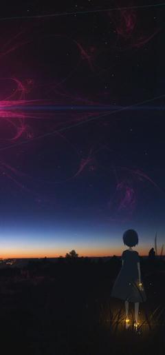 x1544 Anime Girl Staring At Night Sky 720x1544 Resolution