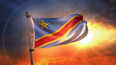 Democratic Republic of the Congo Flag Backlit At Beautiful Sunrise