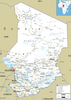 Detailed Clear Large Road Map of Chad