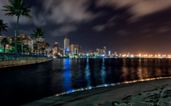 Durban Buildings Skyscrapers Night Lights Beach HD wallpapers