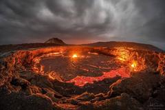 nature Landscape Clouds Ethiopia Africa Volcano Lava Rock