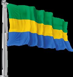 Gabon Waving Flag PNG Image