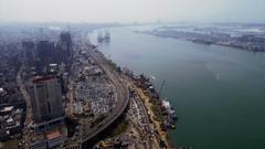 Lagos Nigeria Marina Aerial Stock Video Footage