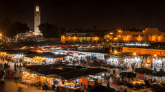 MARRAKECH MOROCCO timelapse People on Jemaa el Fna square and