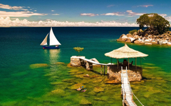 Lake Malawi Africa Stones Water Boat Umbrella Phone Wallpapers