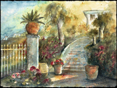 Other Sudan Garden Flowers Cityscape Scenery Painting Art Stairs