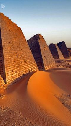 Pyramids at Meroë Sudan Bing wallpaper