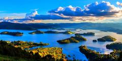Lake Mountains Sunrise Clouds Islands Lake Bunyonyi Uganda Fields
