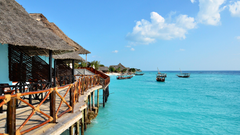The wallpapers of Amaan Bungalows in the Zanzibar island
