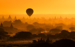 Wallpapers trees balloon architecture silhouettes temples