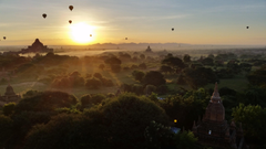 Sunrise at the Temples of Bagan Myanmar HD wallpapers