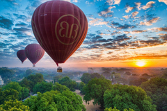 bagan myanmar burma pagan balloons sky sunset panorama HD wallpapers