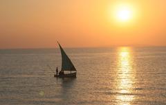 Wallpapers the ocean boat morning sail fishermen sunset