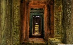 Passageway Inside Temple Cambodia HD desktop wallpapers High