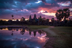 sunrise angkor wat cambodia landscape HD wallpapers