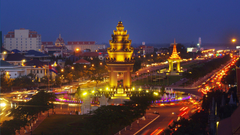 Evening panorama of the city of Phnom Penh