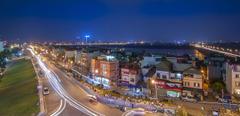 Photos Vietnam Hanoi Roads night time Street lights Cities Houses