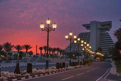 Wallpapers Doha Qatar Roads Night Street lights Cities Building