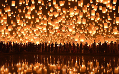 floating lanterns loi krathong festival chiang mai HD wallpapers