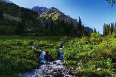 Mountains Scenery Kyrgyzstan Tian Shan Stream Grass Nature wallpapers
