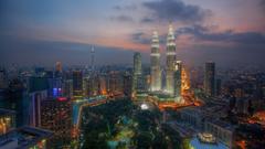 Religious City Park Great Skyscrapers Kuala Lumpur Man Evening