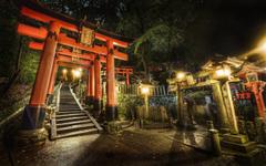 Japan night stairways shrine Kyoto torii cemetery torii gate