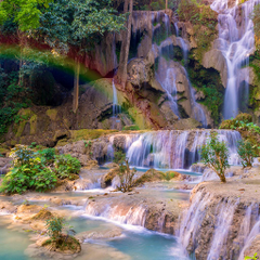 Wallpapers Tat Kuang Si Waterfalls Luang prabang Laos Rock Nature
