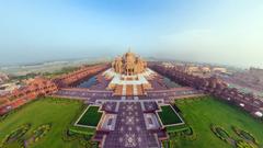 HD Backgrounds Beautiful Akshardham Temple Panorama Top View Indian