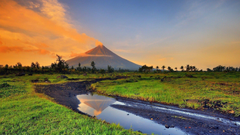 landscape Volcano Stream Smoke Philippines Wallpapers HD