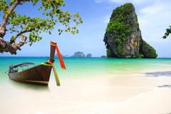 phuket thailand asia beach coast sea boat rock tree HD wallpapers