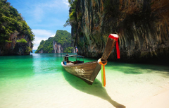 Wallpapers sand sea beach landscape rocks boat Thailand Phuket