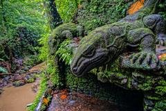 ubud monkey forest ubud bali indonesia statue of a komodo dragon
