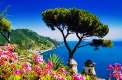 Beaches Amalfi Coast Rest Sea Flowers Blue Sky Italy Summer