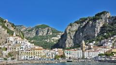 Mountain Amalfi Coast Italy Houses Water Mountains Harbor Church