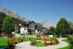 Wallpapers Austria Houses Sky Mountains Landscape Bench