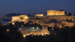Mountains cityscapes night Greece historic Athens Acropolis