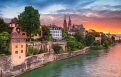 Wallpapers sunset river building home Switzerland Switzerland