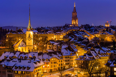 Image Bern Switzerland Winter Night Street lights Cities Houses