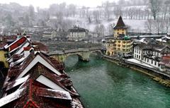 Wallpapers winter bridge the city river Switzerland roof