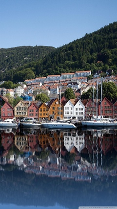 Bryggen Old Wharf Traditional Wooden Buildings Bergen Norway