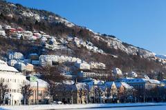 Wallpapers Norway Bergen Winter Cities Houses