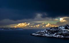 Ocean Sea Coast Winter Norwegian Bergen Line Ocean Waves Wallpapers